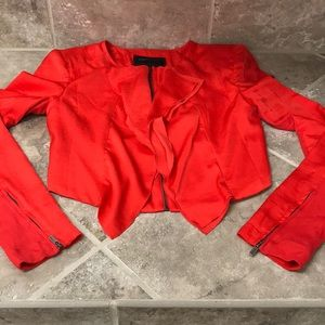 Red Jacket BCBG XS w/ zipper sleeves and zip up